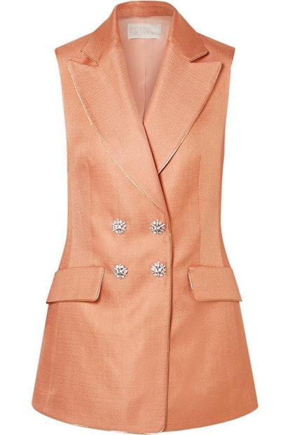 Peter Pilotto Crystal-embellished metallic-trimmed twill vest