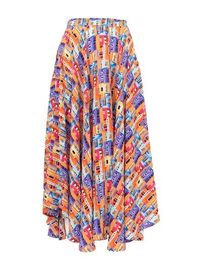 French Riviera Skirt — Careyes Villas Print Brights
