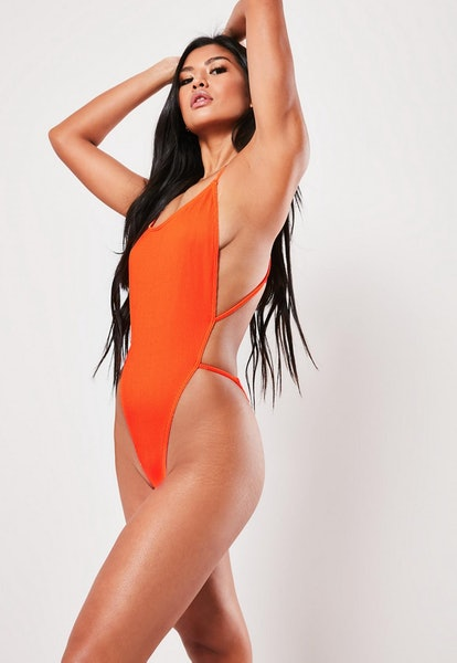 neon orange rib cross back plunge high leg swimsuit