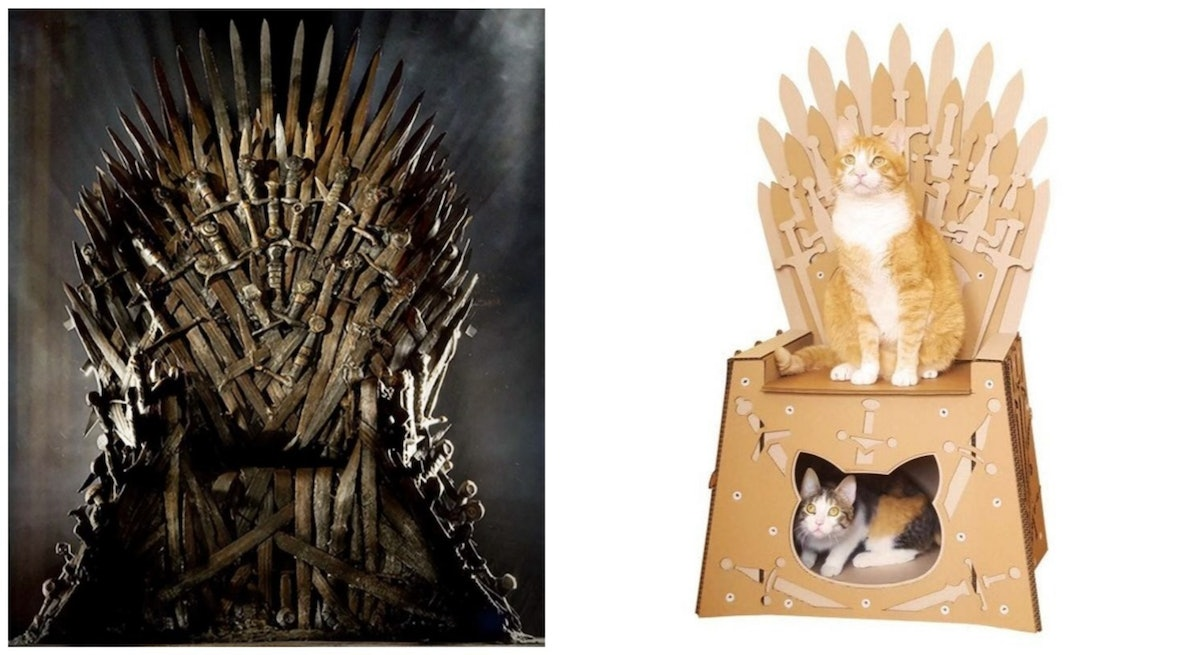 This 'Game Of Thrones' Cardboard Cat House Lets Your Pet Literally Live Inside The Iron Throne