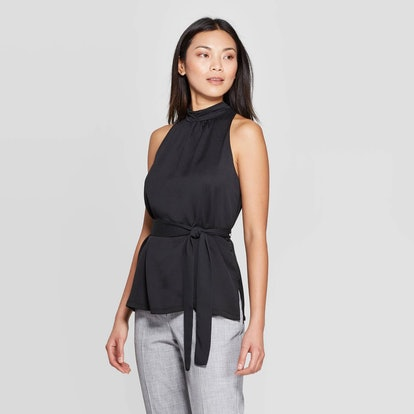 Sleeveless Turtleneck Belted Top
