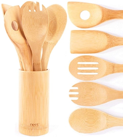 Neet Organic Bamboo 6-Piece Spoon Set With Utensil Holder