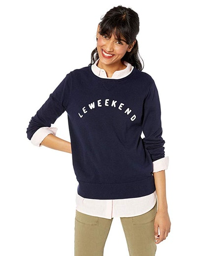 J.Crew Mercantile Women's Long-Sleeve Cotton Le Weekend Graphic Sweater