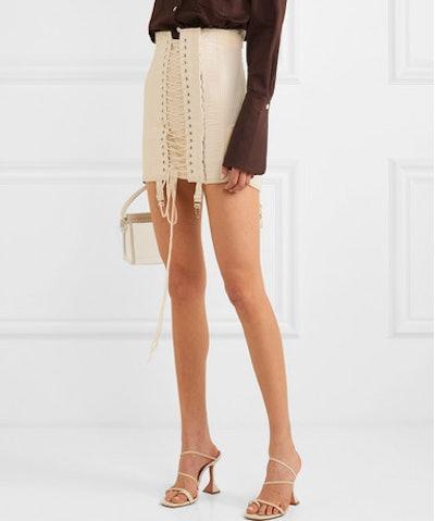 Gamine Lace-Up Cotton-Twill Mini Skirt