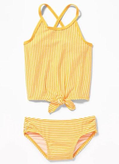 Striped Tie-Hem Tankini