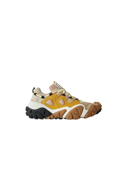 Technical sneakers beige/yellow/amber
