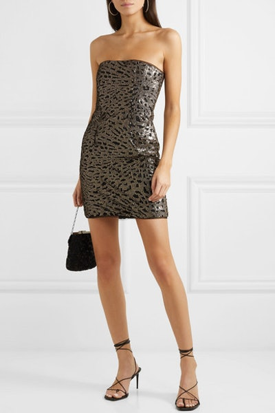 Strapless Sequined Tulle Mini Dress