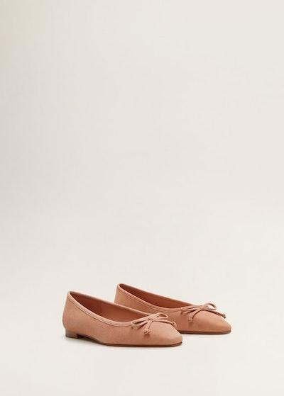 Bow Leather Ballerina