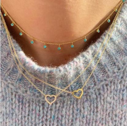 Small Diamond Open Heart Necklace
