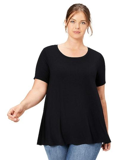 Daily Ritual Women's Plus Size Jersey Short-Sleeve Scoop Neck Swing T-Shirt
