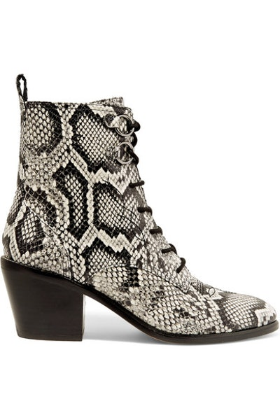 Dakota Lace-Up Snake-Effect Leather Ankle Boots