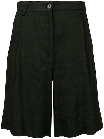 High-Waisted Linen Blend Shorts