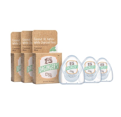 Dr. Ginger's All-Natural Coconut & White Charcoal Floss (3 Pack)