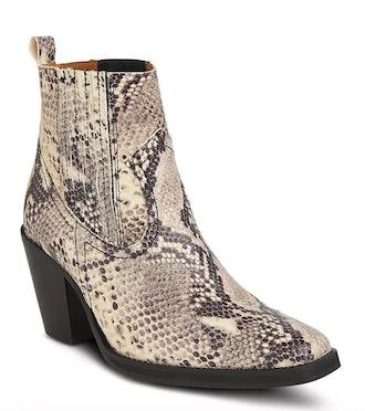Snakeskin-Embossed Leather Mid-Heel Western Booties