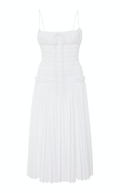 Delphine Smocked Pleated Cotton Dress