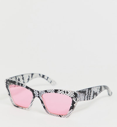 ASOS DESIGN x glaad& unisex sunglasses in pink snake print
