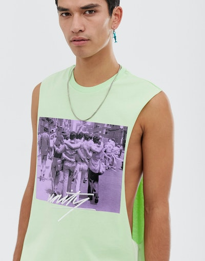 ASOS DESIGN x glaad& unisex tank with photographic and tour print