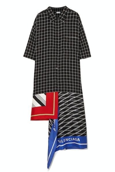 Scarf-Panelled Silk Twill Dress