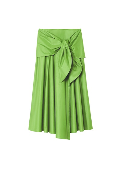 Glossy Plainweave Wrap Skirt