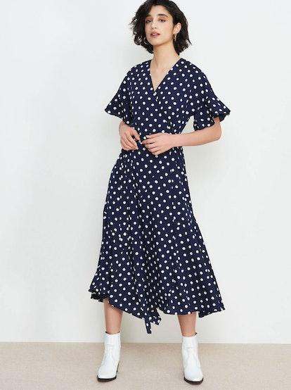 Eliana Navy Polka Dot Wrap Dress