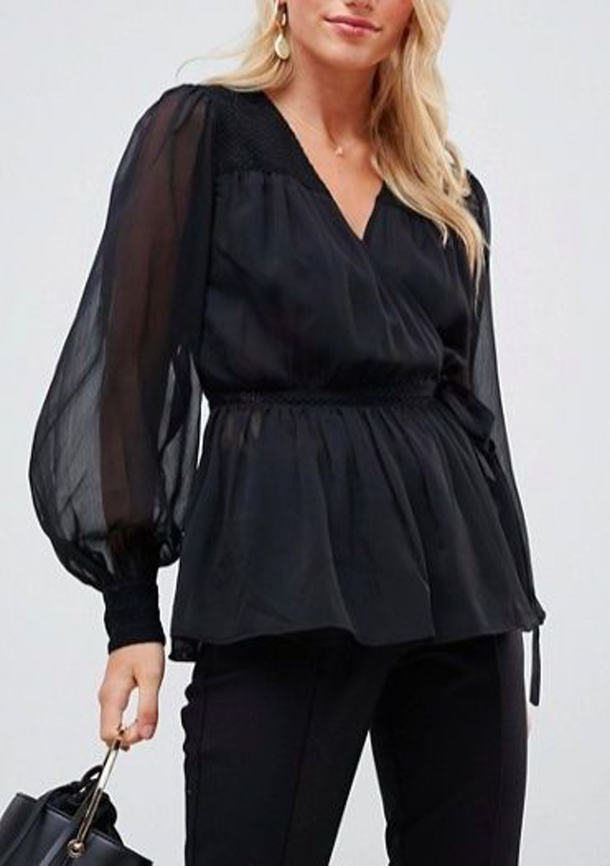 Sheer Long Sleeve Wrap Top With Lace Inserts