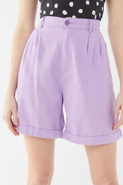 UO Carlton Linen Longline Trouser Short