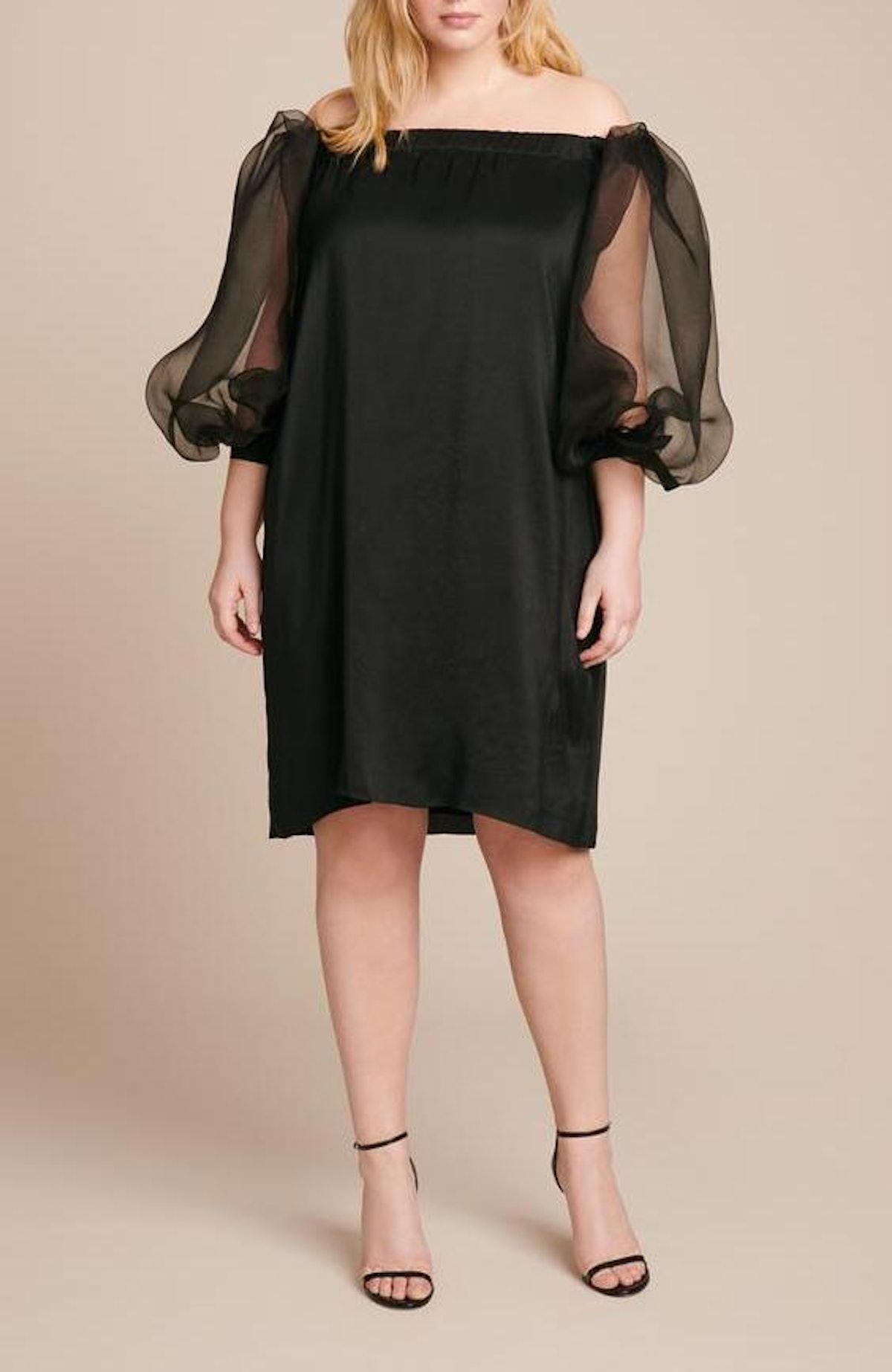 Paige Off-the-Shoulder Sheer Sleeve Dress