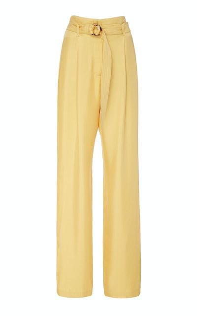 Belted Silk Straight-Leg Pants