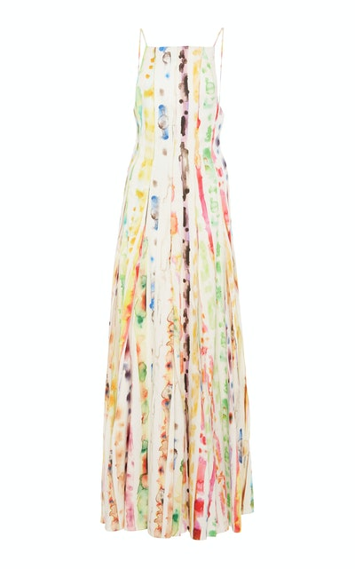 Pleated Printed Cotton-Blend Faille Maxi Dress