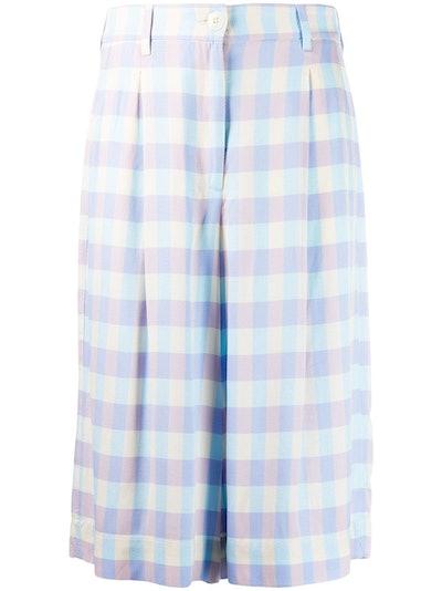 Check Knee-Length Shorts
