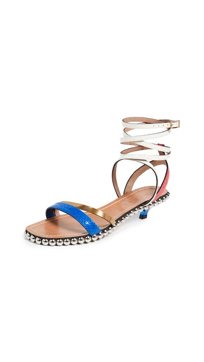 Studded Kitten Heel Buckle Sandals