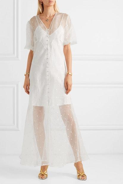 Delphine Embroidered Silk-Organza Maxi Dress
