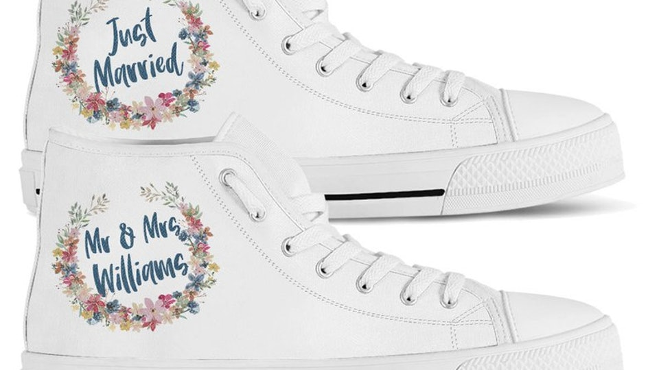 ba40eb02d56ce 12 Personalized Wedding Sneakers, Because No Bride Wants Blisters On ...
