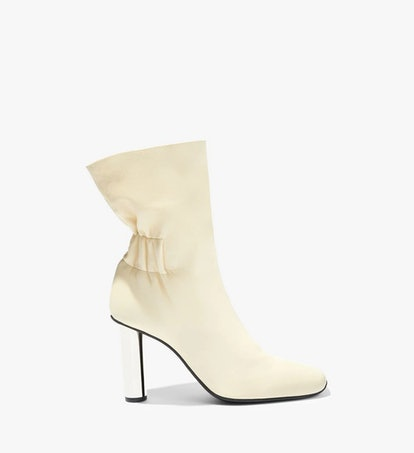 Ruched Nappa High Boots in Ecru