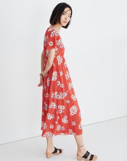 Scalloped Flutter-Sleeve Midi Dress