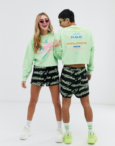 ASOS DESIGN x glaad& unisex cropped sweatshirt with tour print