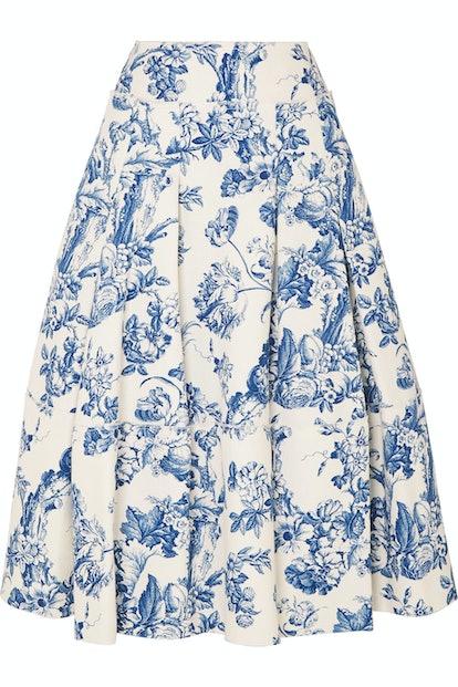 Pleated Toile Midi Skirt