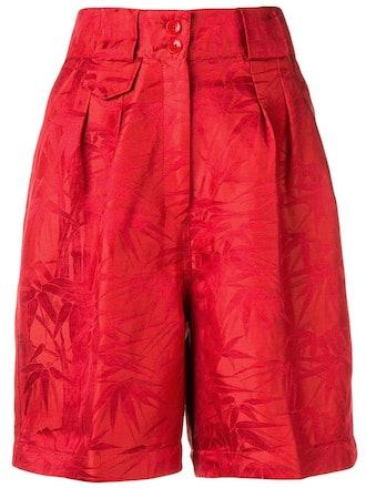 Palm Leaves Linen Silk Blend Shorts