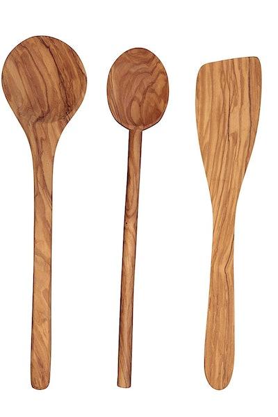 Scanwood Olive Wood 3-Piece Utensil Set, 12 Inch