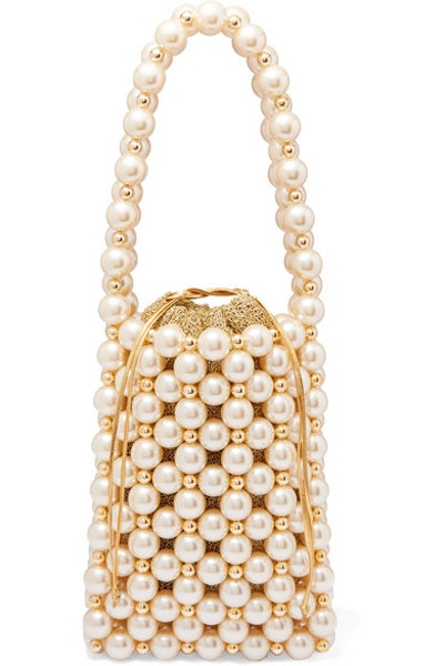 Sicilia Faux Pearl And Gold-Tone Beaded Tote
