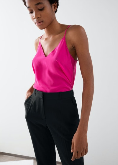 Scalloped Silk Tank Top