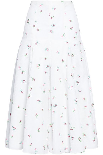 Merica Pleated Floral-Print Cloqué Midi Skirt