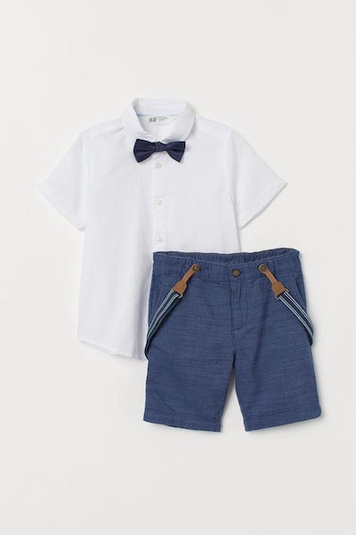 Shirt With Bow Tie And Shorts