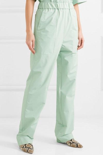 Coated-Poplin Straight-Leg Pants