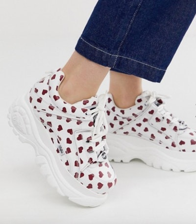 Buffalo Classic Low Top Chunky Platform Trainers In Heart Print