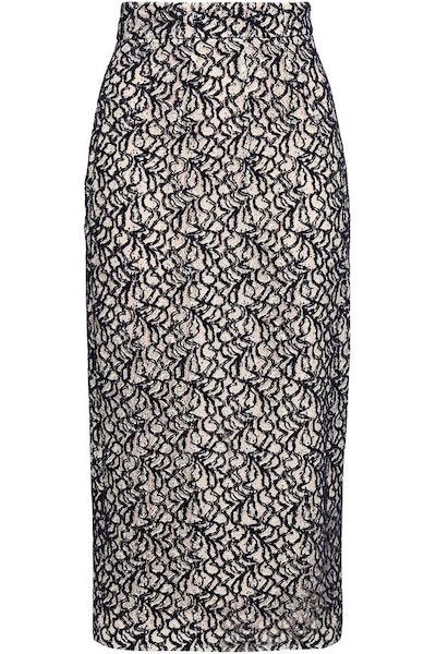 Linda Flocked Lace Midi Pencil Skirt