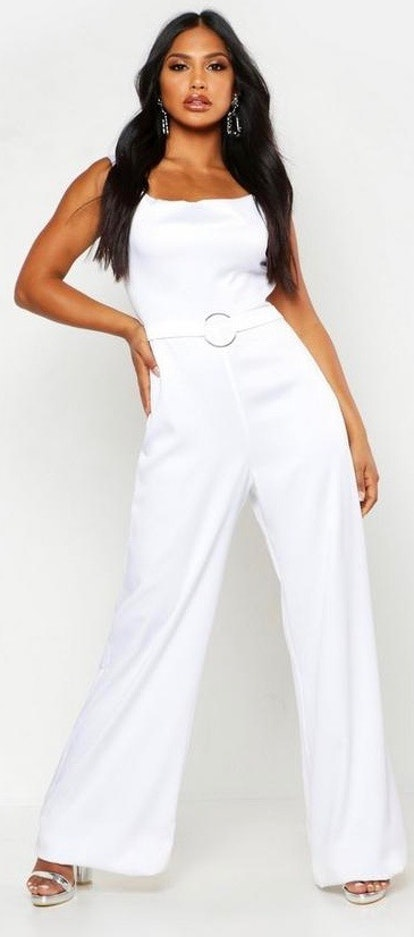 Satin Ring Detail Cowl Front Jumpsuit