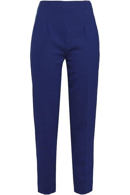 Cropped Wool-Crepe Slim-Leg Pants