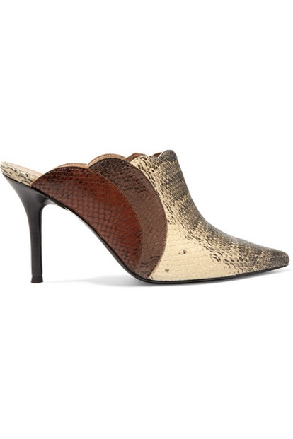 Lauren Scalloped Snake-Effect Leather Mules