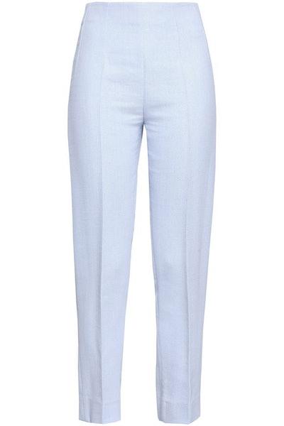 Arabella Cropped Creme Slim-Leg Pants